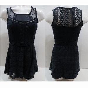 Rewind top XS blue lace sleeveless lined